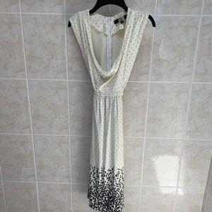 Eva Franco black and white polka dot midi dress.